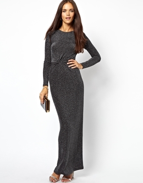 Jersey Drape Maxi Dress - pattern: plain; style: maxi dress; length: ankle length; waist detail: flattering waist detail; predominant colour: charcoal; occasions: evening, occasion; fit: body skimming; neckline: crew; sleeve length: long sleeve; sleeve style: standard; pattern type: fabric; texture group: jersey - stretchy/drapey; fibres: nylon - stretch; embellishment: glitter; season: a/w 2013; wardrobe: event; embellishment location: all over