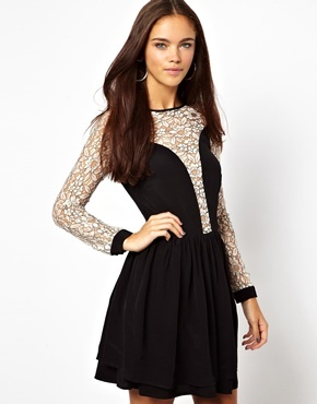 Lace Insert Skater Dress - length: mid thigh; bust detail: sheer at bust; secondary colour: ivory/cream; predominant colour: black; occasions: evening, occasion; fit: fitted at waist & bust; style: fit & flare; fibres: nylon - mix; neckline: crew; sleeve length: long sleeve; sleeve style: standard; texture group: lace; pattern type: fabric; pattern size: standard; pattern: patterned/print; embellishment: lace; season: a/w 2013; shoulder detail: sheer at shoulder; wardrobe: event; embellishment location: bust, shoulder