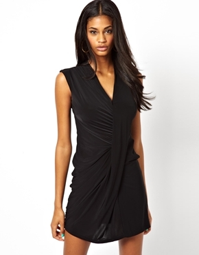 V Neck Drape Dress - style: faux wrap/wrap; length: mid thigh; neckline: v-neck; pattern: plain; sleeve style: sleeveless; predominant colour: black; occasions: casual, evening, occasion; fit: body skimming; fibres: polyester/polyamide - stretch; hip detail: subtle/flattering hip detail; back detail: sheer fabric at back; sleeve length: sleeveless; pattern type: fabric; texture group: jersey - stretchy/drapey; trends: gothic romance; season: a/w 2013