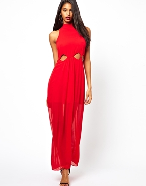 Chelsea Girl Sleeveless Waist Cutwork Maxi Dress - pattern: plain; sleeve style: sleeveless; style: maxi dress; neckline: high neck; length: ankle length; back detail: racer back/sports back; predominant colour: true red; occasions: evening, occasion; fit: body skimming; fibres: polyester/polyamide - 100%; waist detail: cut out detail; sleeve length: sleeveless; texture group: sheer fabrics/chiffon/organza etc.; pattern type: fabric; trends: gothic romance, broody brights; season: a/w 2013