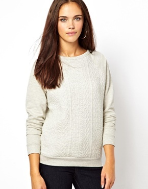 Long Sleeve Cable Quilt Sweatshirt - pattern: plain; style: sweat top; predominant colour: ivory/cream; occasions: casual; length: standard; fibres: cotton - mix; fit: straight cut; neckline: crew; sleeve length: long sleeve; sleeve style: standard; texture group: cotton feel fabrics; season: a/w 2013
