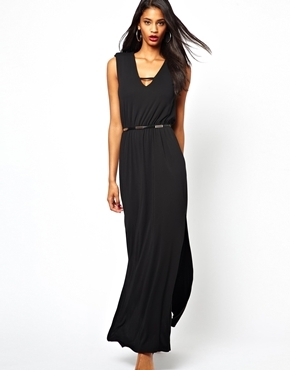 Plunge Maxi Dress - neckline: low v-neck; fit: fitted at waist; pattern: plain; sleeve style: sleeveless; style: maxi dress; waist detail: belted waist/tie at waist/drawstring; predominant colour: black; occasions: casual, evening, holiday; length: floor length; fibres: polyester/polyamide - 100%; back detail: keyhole/peephole detail at back; sleeve length: sleeveless; pattern type: fabric; texture group: jersey - stretchy/drapey; trends: gothic romance; season: a/w 2013