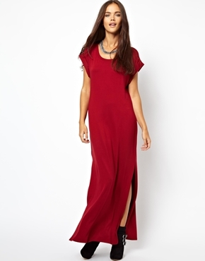 Side Split Maxi Dress - neckline: round neck; sleeve style: dolman/batwing; pattern: plain; style: maxi dress; predominant colour: burgundy; occasions: casual, evening, holiday; length: floor length; fit: body skimming; fibres: viscose/rayon - stretch; hip detail: slits at hip; sleeve length: short sleeve; pattern type: fabric; texture group: jersey - stretchy/drapey; trends: gorgeous grunge, broody brights; season: a/w 2013