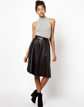 Coated Full Midi Skirt - length: below the knee; pattern: plain; fit: loose/voluminous; style: pleated; waist: high rise; predominant colour: black; occasions: casual, evening, work; fibres: polyester/polyamide - stretch; texture group: leather; pattern type: fabric; trends: gorgeous grunge; season: a/w 2013