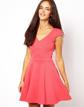 V Neck Skater Dress - length: mid thigh; neckline: low v-neck; sleeve style: capped; pattern: plain; occasions: casual, evening, occasion; fit: fitted at waist & bust; style: fit & flare; fibres: viscose/rayon - stretch; sleeve length: short sleeve; pattern type: fabric; texture group: jersey - stretchy/drapey; trends: 1940's hitchcock heroines; predominant colour: raspberry; season: a/w 2013