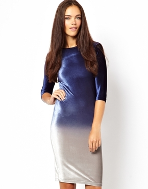 Chelsea Girl Ombre Velvet Bodycon Dress - fit: tight; style: bodycon; predominant colour: navy; secondary colour: silver; occasions: evening, occasion, holiday; length: on the knee; fibres: polyester/polyamide - stretch; neckline: crew; sleeve length: 3/4 length; sleeve style: standard; pattern type: fabric; pattern size: standard; pattern: colourblock; texture group: velvet/fabrics with pile; season: a/w 2013