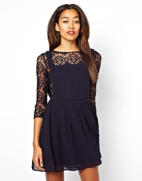 Chelsea Girl 3/4 Sleeve Lace Pinny Skater Dress - length: mid thigh; neckline: slash/boat neckline; predominant colour: navy; occasions: casual, evening, occasion; fit: fitted at waist & bust; style: fit & flare; back detail: keyhole/peephole detail at back; sleeve length: 3/4 length; sleeve style: standard; texture group: lace; pattern type: fabric; pattern: patterned/print; fibres: viscose/rayon - mix; embellishment: lace; trends: gothic romance, broody brights; season: a/w 2013