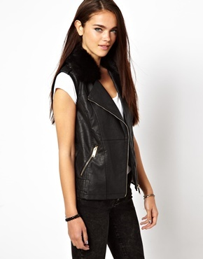 Leather Look Gilet Jacket - pattern: plain; sleeve style: sleeveless; style: gilet; collar: asymmetric biker; predominant colour: black; occasions: casual, evening, creative work; length: standard; fit: straight cut (boxy); fibres: acrylic - mix; sleeve length: sleeveless; texture group: leather; collar break: medium; pattern type: fabric; season: a/w 2013