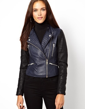 Colour Block Biker Jacket - pattern: plain; style: biker; collar: asymmetric biker; fit: slim fit; predominant colour: royal blue; secondary colour: black; occasions: casual, evening, creative work; length: standard; fibres: polyester/polyamide - 100%; sleeve length: long sleeve; sleeve style: standard; texture group: leather; collar break: medium; pattern type: fabric; embellishment: quilted; season: a/w 2013