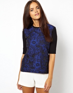Short Sleeve Floral Woven Front Tee - style: t-shirt; predominant colour: royal blue; secondary colour: black; occasions: casual, evening, creative work; length: standard; fibres: polyester/polyamide - stretch; fit: straight cut; neckline: crew; sleeve length: half sleeve; sleeve style: standard; pattern type: fabric; pattern size: standard; pattern: florals; texture group: jersey - stretchy/drapey; season: a/w 2013