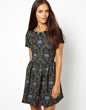 Short Sleeve Tapestry Skater Dress With Jewel Necklace - length: mid thigh; secondary colour: pale blue; predominant colour: dark green; occasions: casual, evening, occasion; fit: fitted at waist & bust; style: fit & flare; fibres: polyester/polyamide - mix; neckline: crew; back detail: sheer fabric at back; sleeve length: short sleeve; sleeve style: standard; texture group: cotton feel fabrics; pattern type: fabric; pattern size: big & busy; pattern: patterned/print; trends: 1940's hitchcock heroines, gothic romance; season: a/w 2013