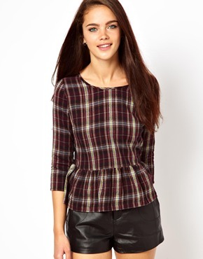 Chelsea Girl Check And Lace Peplum Top - neckline: round neck; pattern: checked/gingham; waist detail: peplum waist detail; secondary colour: ivory/cream; predominant colour: burgundy; occasions: casual, work; length: standard; style: top; fibres: cotton - 100%; fit: tailored/fitted; sleeve length: 3/4 length; sleeve style: standard; texture group: cotton feel fabrics; pattern type: fabric; trends: gorgeous grunge; season: a/w 2013; pattern size: big & busy (top)