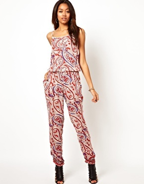 Paisley Print Jumpsuit - sleeve style: spaghetti straps; fit: fitted at waist; pattern: paisley; predominant colour: blush; occasions: casual, evening, holiday; length: ankle length; fibres: viscose/rayon - 100%; sleeve length: sleeveless; texture group: silky - light; style: jumpsuit; neckline: medium square neck; pattern type: fabric; pattern size: big & busy; trends: playful prints; secondary colour: raspberry; season: a/w 2013