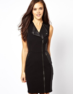 Sleeveless Biker Dress - style: shift; neckline: low v-neck; fit: tailored/fitted; pattern: plain; sleeve style: sleeveless; predominant colour: black; occasions: evening, occasion, creative work; length: just above the knee; fibres: viscose/rayon - stretch; sleeve length: sleeveless; pattern type: fabric; texture group: other - light to midweight; season: a/w 2013