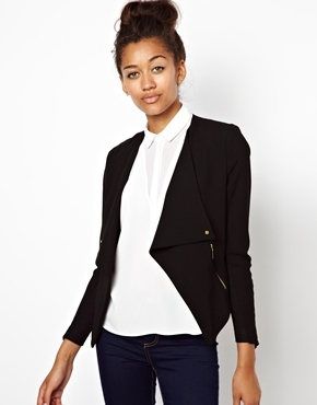 Tailored Jacket With Zip Detail - pattern: plain; style: single breasted blazer; collar: round collar/collarless; predominant colour: black; occasions: casual, evening, work, creative work; length: standard; fit: tailored/fitted; fibres: polyester/polyamide - 100%; sleeve length: long sleeve; sleeve style: standard; collar break: low/open; pattern type: fabric; texture group: other - light to midweight; season: a/w 2013