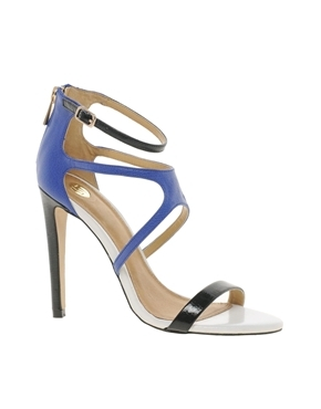 Entry Barely There Colourblock Sandal - predominant colour: royal blue; secondary colour: black; occasions: evening, occasion, holiday; material: faux leather; ankle detail: ankle strap; heel: stiletto; toe: open toe/peeptoe; style: strappy; finish: patent; pattern: plain; heel height: very high; season: a/w 2013