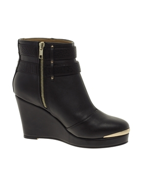 Smart Wedge Ankle Boots - predominant colour: black; occasions: casual, creative work; material: faux leather; heel height: mid; embellishment: buckles; heel: wedge; toe: round toe; boot length: ankle boot; style: standard; finish: plain; pattern: plain; shoe detail: platform; season: a/w 2013