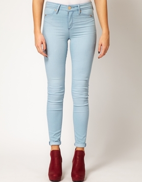 Light Denim Molly Jeggings - pattern: plain; style: jeggings; pocket detail: traditional 5 pocket; waist: mid/regular rise; predominant colour: pale blue; occasions: casual, evening; length: ankle length; fibres: cotton - stretch; jeans detail: washed/faded; jeans & bottoms detail: turn ups; texture group: denim; pattern type: fabric; season: a/w 2013