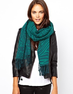 Animal Blanket Scarf - predominant colour: teal; occasions: casual, evening, work, creative work; type of pattern: light; style: pashmina; size: standard; material: fabric; embellishment: fringing; pattern: animal print; season: a/w 2013
