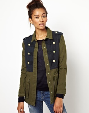 Military Jacket - shoulder detail: obvious epaulette; length: below the bottom; predominant colour: khaki; secondary colour: charcoal; occasions: casual, creative work; fit: straight cut (boxy); fibres: cotton - 100%; collar: shirt collar/peter pan/zip with opening; sleeve length: long sleeve; sleeve style: standard; texture group: cotton feel fabrics; collar break: high; pattern type: fabric; pattern: colourblock; style: single breasted military jacket; season: a/w 2013; wardrobe: highlight