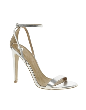 Barely There Heeled Sandals - predominant colour: silver; occasions: evening, occasion, holiday; material: leather; heel height: high; ankle detail: ankle strap; heel: standard; toe: open toe/peeptoe; style: standard; finish: metallic; pattern: plain; season: a/w 2013