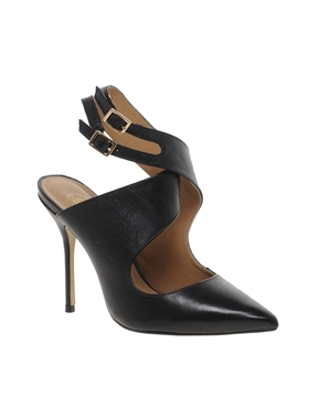 Black Ox Cross Over Court Shoes - predominant colour: black; occasions: evening, work, occasion; material: leather; embellishment: buckles; ankle detail: ankle strap; heel: stiletto; toe: pointed toe; style: courts; finish: plain; pattern: plain; heel height: very high; season: a/w 2013