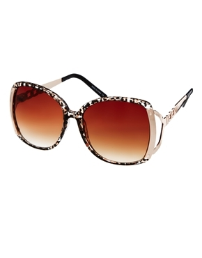Kim Brown Leopard Sunglasses - secondary colour: blush; predominant colour: black; occasions: casual, holiday; style: square; size: large; material: plastic/rubber; pattern: animal print; finish: plain; season: a/w 2013