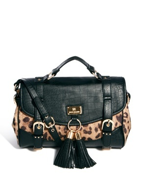 Leopard Print Satchel Bag - predominant colour: camel; secondary colour: black; occasions: casual, creative work; type of pattern: standard; style: satchel; length: across body/long; size: standard; material: faux leather; embellishment: tassels; pattern: animal print; finish: plain; season: a/w 2013