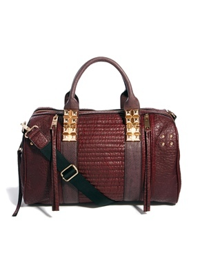 Plum Ruched Detail Bowler Bag - predominant colour: burgundy; occasions: casual, creative work; type of pattern: standard; style: bowling; length: handle; size: standard; material: faux leather; pattern: plain; finish: plain; season: a/w 2013