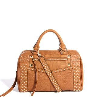 Tan Studded Bowler Bag - predominant colour: tan; occasions: casual, work, creative work; style: bowling; length: handle; size: standard; material: faux leather; embellishment: studs; pattern: plain; finish: plain; season: a/w 2013