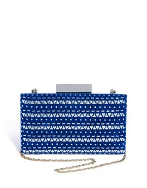 Blue & Silver Detail Box Clutch Bag - predominant colour: royal blue; occasions: evening, occasion; style: clutch; length: hand carry; size: mini; material: suede; embellishment: studs; finish: metallic; pattern: horizontal stripes; trends: excess embellishment; season: a/w 2013