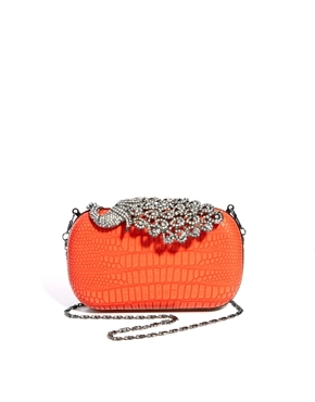 Peacock Detail Box Clutch Bag - predominant colour: bright orange; occasions: evening, occasion; type of pattern: light; style: clutch; length: hand carry; size: mini; material: faux leather; embellishment: crystals/glass; pattern: plain; finish: metallic; trends: excess embellishment; season: a/w 2013