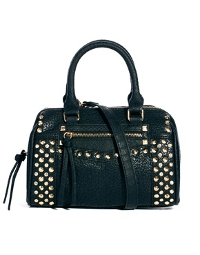 Black Studded Mini Bowler Bag - predominant colour: black; occasions: casual, work, occasion, creative work; type of pattern: light; style: bowling; length: handle; size: standard; material: faux leather; embellishment: studs; pattern: plain; finish: plain; season: a/w 2013