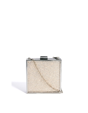 Diamante Square Box Clutch Bag - predominant colour: blush; secondary colour: silver; occasions: evening, occasion; type of pattern: light; style: clutch; length: hand carry; size: small; material: fabric; embellishment: crystals/glass; pattern: plain; finish: plain; trends: excess embellishment; season: a/w 2013
