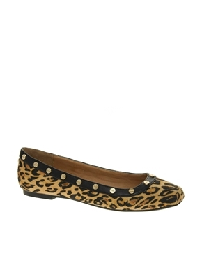 Peacan Square Toe Leopard Ballerina Flat Shoes - predominant colour: camel; secondary colour: black; occasions: casual, evening, work; material: fabric; heel height: flat; embellishment: studs; toe: round toe; style: ballerinas / pumps; finish: plain; pattern: animal print; trends: playful prints; season: a/w 2013