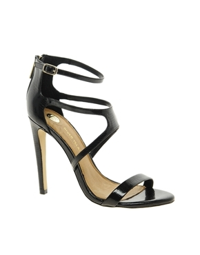 Barely There Sandals - predominant colour: black; occasions: evening, occasion; material: faux leather; heel height: high; ankle detail: ankle strap; heel: standard; toe: open toe/peeptoe; style: strappy; finish: patent; pattern: plain; season: a/w 2013