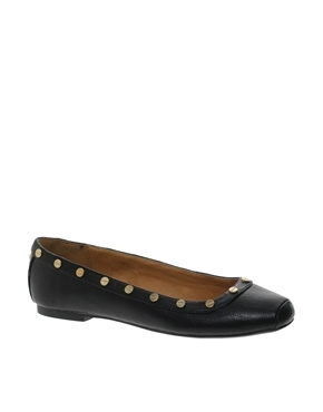 Peacan Square Toe Ballerina Shoes - predominant colour: black; occasions: casual, evening, work; material: faux leather; heel height: flat; embellishment: studs; toe: round toe; style: ballerinas / pumps; finish: plain; pattern: plain; season: a/w 2013