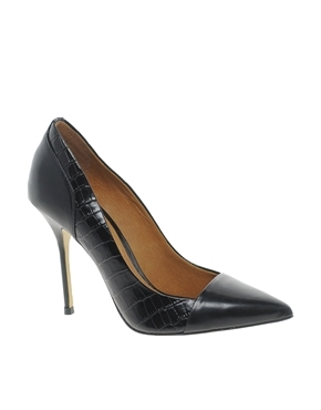 Leather Odette Classic Court Shoes - predominant colour: black; occasions: evening, work, occasion; material: faux leather; heel: stiletto; toe: pointed toe; style: courts; finish: plain; pattern: animal print; heel height: very high; trends: 1940's hitchcock heroines; season: a/w 2013