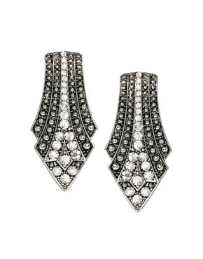 Encrusted Deco Shaped Earrings - predominant colour: silver; occasions: evening, occasion; style: drop; length: mid; size: standard; material: chain/metal; fastening: pierced; finish: metallic; embellishment: crystals/glass; trends: excess embellishment, gothic romance; season: a/w 2013