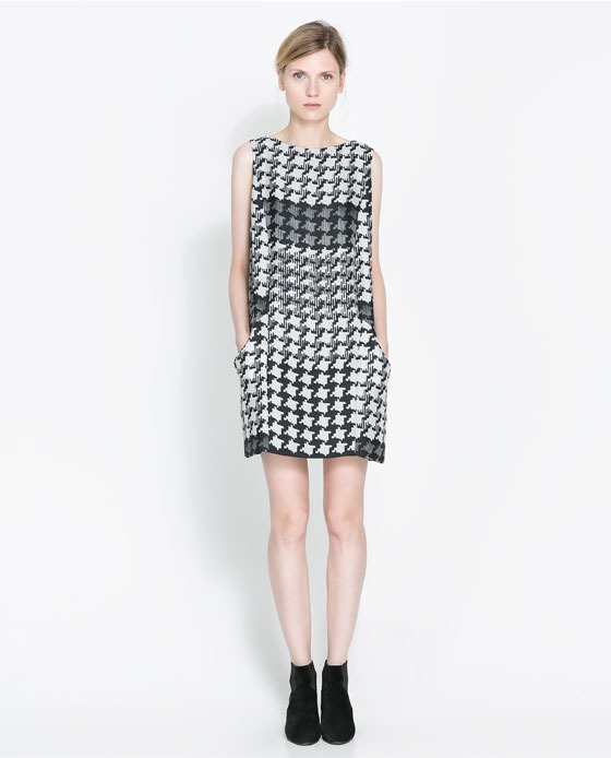 Houndstooth Checked Dress - style: shift; length: mid thigh; neckline: slash/boat neckline; sleeve style: sleeveless; predominant colour: white; secondary colour: charcoal; occasions: casual, evening, creative work; fit: body skimming; fibres: polyester/polyamide - 100%; pattern: dogtooth; sleeve length: sleeveless; pattern type: fabric; texture group: other - light to midweight; season: a/w 2013