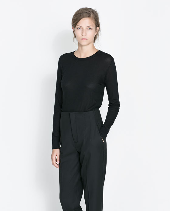 Fine Knit T Shirt - pattern: plain; predominant colour: black; occasions: casual, evening, work, creative work; length: standard; style: top; fibres: viscose/rayon - stretch; fit: straight cut; neckline: crew; sleeve length: long sleeve; sleeve style: standard; texture group: knits/crochet; season: a/w 2013