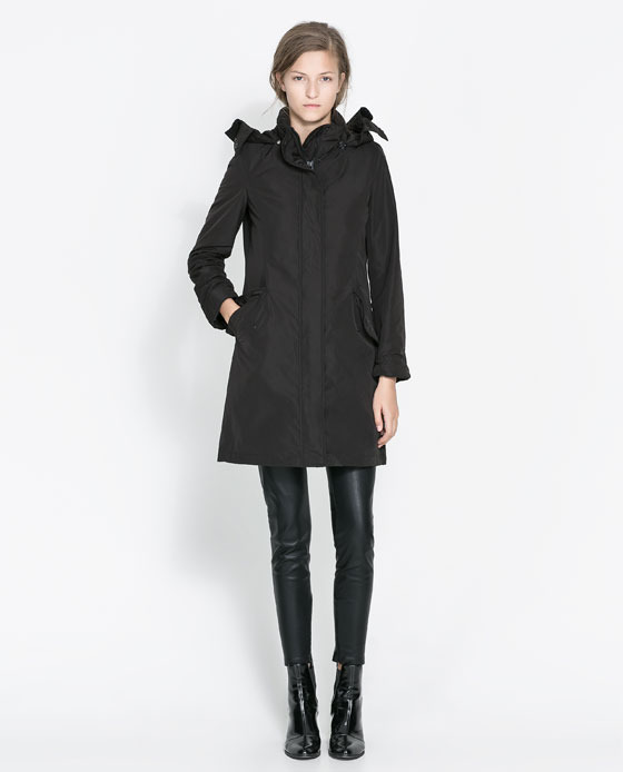 Black Coat - pattern: plain; collar: funnel; style: single breasted; back detail: hood; length: mid thigh; predominant colour: black; occasions: casual, work; fit: straight cut (boxy); fibres: polyester/polyamide - 100%; sleeve length: long sleeve; sleeve style: standard; collar break: high; pattern type: fabric; texture group: other - light to midweight; season: a/w 2013