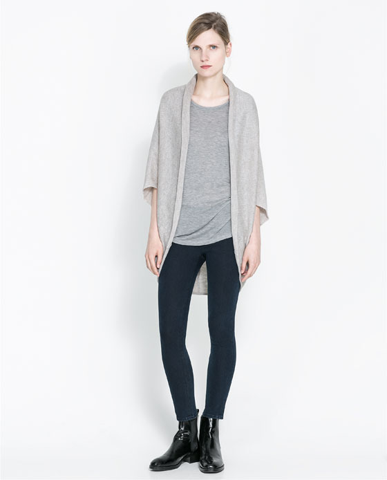 Wraparound Cardigan - sleeve style: dolman/batwing; pattern: plain; length: below the bottom; neckline: collarless open; style: open front; predominant colour: light grey; occasions: casual, work, creative work; fibres: polyester/polyamide - mix; fit: loose; sleeve length: short sleeve; texture group: knits/crochet; season: a/w 2013