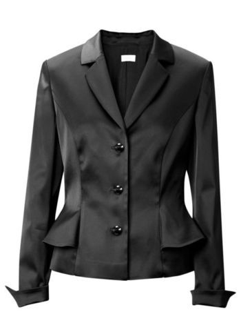 Blazer - pattern: plain; style: single breasted blazer; collar: standard lapel/rever collar; predominant colour: black; occasions: casual, evening, work, occasion; length: standard; fit: tailored/fitted; fibres: polyester/polyamide - stretch; sleeve length: long sleeve; sleeve style: standard; texture group: structured shiny - satin/tafetta/silk etc.; collar break: medium; pattern type: fabric; trends: gothic romance; season: a/w 2013