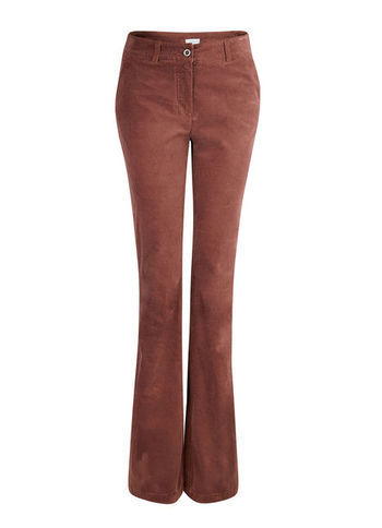 Cotton Trousers - length: standard; pattern: plain; pocket detail: small back pockets, pockets at the sides, traditional 5 pocket; waist: mid/regular rise; predominant colour: burgundy; occasions: casual, evening, work; fibres: cotton - stretch; fit: bootcut; pattern type: fabric; texture group: velvet/fabrics with pile; style: standard; season: a/w 2013