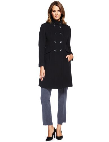 M&S Collection Wool Blend Double Breasted Military Coat With Cashmere - pattern: plain; collar: funnel; style: double breasted; length: mid thigh; predominant colour: black; occasions: casual, evening, work; fit: tailored/fitted; fibres: wool - mix; sleeve length: long sleeve; sleeve style: standard; collar break: high; pattern type: fabric; texture group: woven bulky/heavy; season: a/w 2013
