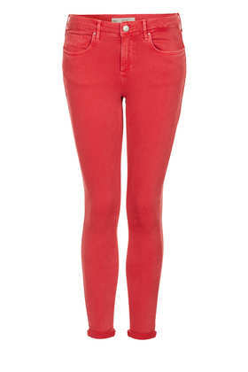 Petite Moto Leigh Jeans - style: skinny leg; pattern: plain; waist: low rise; pocket detail: pockets at the sides, traditional 5 pocket; predominant colour: true red; occasions: casual, evening; length: ankle length; fibres: cotton - 100%; jeans & bottoms detail: turn ups; texture group: denim; season: a/w 2013