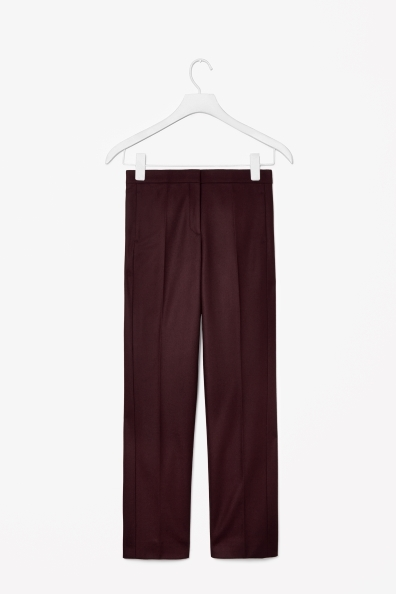 Wool Cashmere Trousers - length: standard; pattern: plain; pocket detail: pockets at the sides; waist: mid/regular rise; predominant colour: burgundy; occasions: casual, evening, work, creative work; fit: straight leg; texture group: woven light midweight; style: standard; fibres: cashmere - mix; trends: broody brights; season: a/w 2013