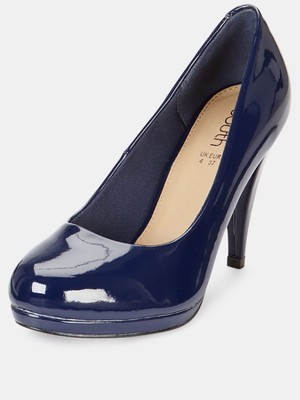 Middleton Mid Heel Platform Court Shoes, Black - predominant colour: navy; occasions: casual, evening, work, occasion, creative work; material: faux leather; heel height: high; heel: stiletto; toe: round toe; style: courts; finish: patent; pattern: plain; trends: broody brights; shoe detail: platform; season: a/w 2013
