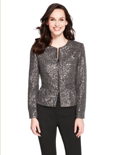 M&S Collection Sequin Zip Jacket - pattern: plain; style: single breasted blazer; collar: round collar/collarless; predominant colour: charcoal; occasions: evening, occasion, creative work; length: standard; fit: tailored/fitted; fibres: acrylic - mix; sleeve length: long sleeve; sleeve style: standard; collar break: high; pattern type: fabric; texture group: other - light to midweight; embellishment: sequins; trends: excess embellishment; season: a/w 2013
